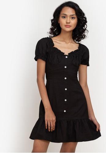 ZALORA BASICS black Flutter Hem Button Front Dress ACA82AA24A60D7GS_1