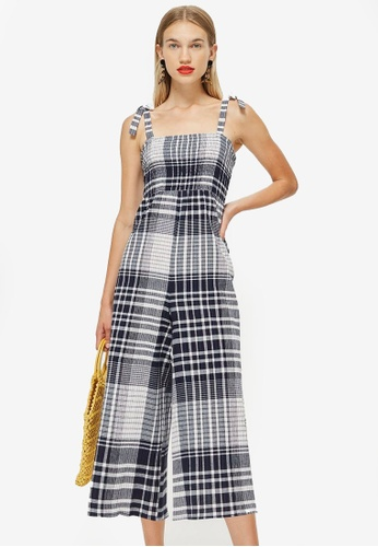 5ba8a356b66 Shop TOPSHOP Shirred Check Jumpsuit Online on ZALORA Philippines