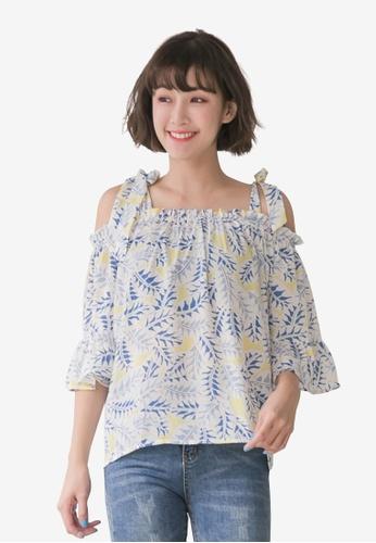 Tokichoi blue Floral Print Self-Tie Open-Shoulder Top AF09EAAADE3CB2GS_1