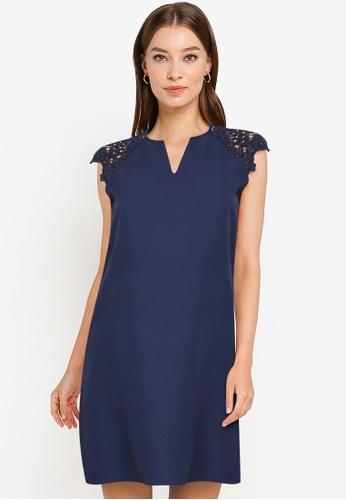 ZALORA WORK navy Lace Sleeve Notch Neck Dress DBD0BAA55AAB22GS_1