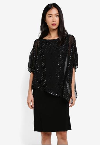 Wallis black Black Sparkly Overlay Dress WA800AA0S7CJMY_1