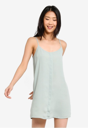 ZALORA BASICS green Basic Front Placket Cami Dress C3881AA71F7487GS_1