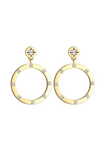 ELLI GERMANY gold Ear Studs Circle Geo Earrings With Swarovski® Crystals 1B7A5AC2D9CB8FGS_1