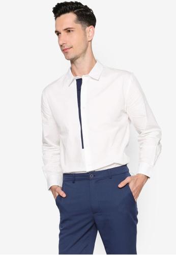 ZALORA BASICS white Placket Detail Long Sleeve Shirt 66C3DAA41C7B3BGS_1