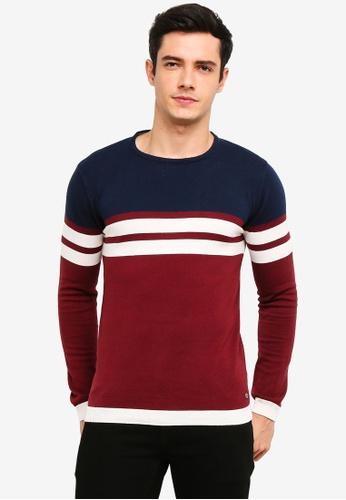 !Solid 紅色 Stellan 條紋針織Sweater EE194AA7914B75GS_1