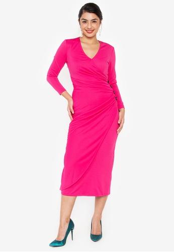 Wear Kris pink Kirsten Overlap Knit Dress with Button Detail E4830AA0791362GS_1