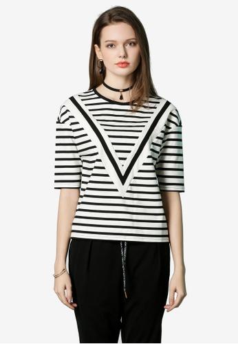Hopeshow white Woolen Striped T-Shirt 06799AAB5791C5GS_1