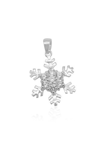 Silverworks silver Snowflakes Charm with Zirconia Rositas in Middle 21D32ACC224AF8GS_1