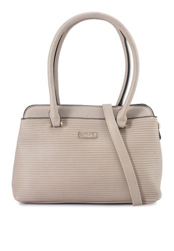 Unisa beige Debossed Convertible Shoulder Bag D6685AC814A7F3GS_1