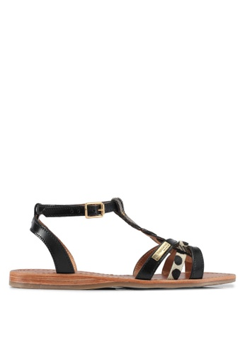 Les Tropeziennes Par M. Belarbi multi Hams Black Gold Braided Strap Leather Sandals 41778SH6B6C8D6GS_1
