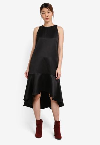 Something Borrowed black Fluted Dip Hem Midi Dress 2AEDAAAD7BDA68GS_1
