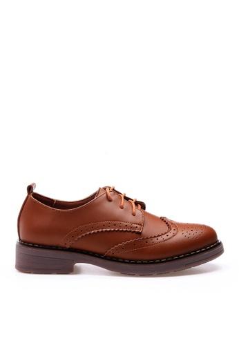 Twenty Eight Shoes 褐色 牛皮拷花綁帶鞋 VL337 2F43ASH4D81064GS_1