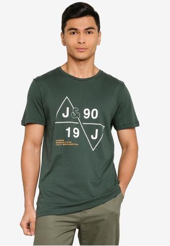 Jack & Jones green Cabin Short Sleeves Crew Neck Tee 8B1C5AAA2E53BDGS_1