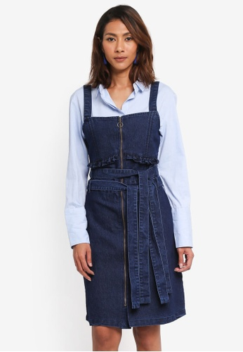 LOST INK blue Denim Short Sleeve Fit And Flare Dress 3F259AADA5F819GS_1