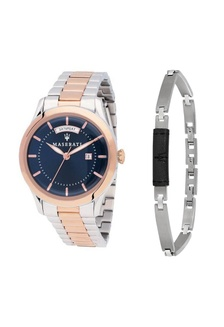 810120efe6a4 Tradizione Quartz Watch R8853125001 Silver and Rose Gold Metal Strap +  Stainless Steel Leather Bracelet JM02 Maserati ...