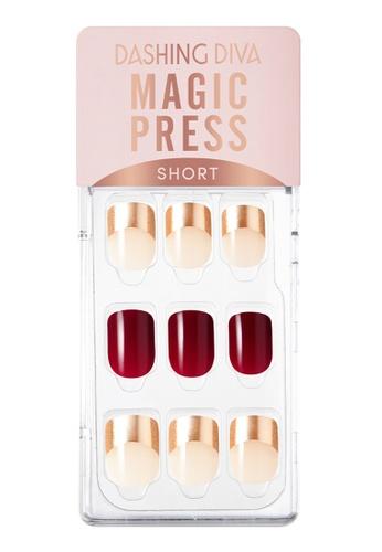 Dashing Diva red Dashing Diva 1 SEC. MAGIC PRESS Manicure(Short Size) Burgundy Rose Gold/ Press on Nails /Nail Tips 25132BEBB61E4FGS_1