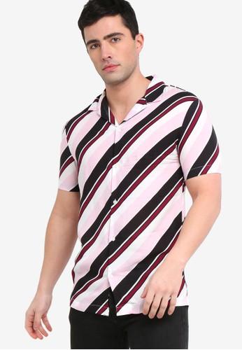 River Island pink Diagonal Stripe Shirt 9F384AA41DD5ACGS_1