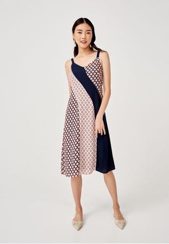 Love, Bonito blue Tansy Mixed Print Midi Dress in Moroccan Reverie 59B7BAA67057D0GS_1