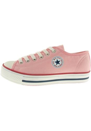 Maxstar 粉紅色 新款韩国鞋C1-6H時尚帆布布混合女粉紅色 US Women Size MA345SH43HDCTW_1