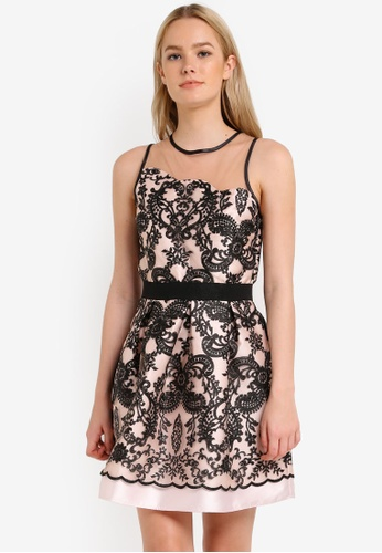 Miss Selfridge multi Premium Embroidered Scallop Edge Prom Dress MI665AA0RJEYMY_1