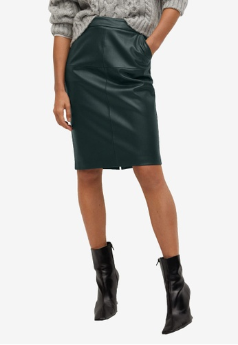 Mango green Faux-Leather Pencil Skirt D9EB2AAD450388GS_1