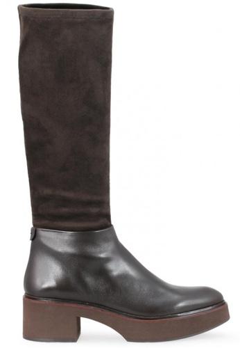 Shu Talk 褐色 絨面真皮皮革低跟女鞋靴 SH544SH099Y2TW_1