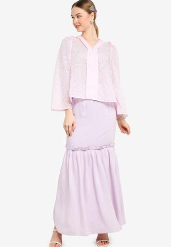 Lubna pink Long Bell Sleeve Flare Kebaya E2949AA2B83D24GS_1