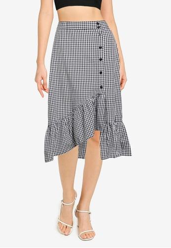 KOTON black Frilled Button Skirt 498F8AA1818077GS_1