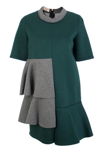 MARNI grey and green Pre-Loved Green and Grey Felt Marni Mini Dress with Asymmetrical Panels A6711AA0C0DA7CGS_1