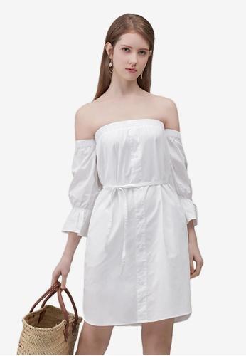 Kodz white Off-Shoulder Buttoned Dress B50DAAA4E28290GS_1