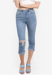 Miss Selfridge 藍色 Petite Mom Ripped Jeans MI665AA65EBIMY_1