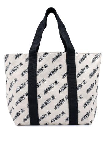 agnès b. black and white Tote Bag FA04CAC0B3F5FEGS_1