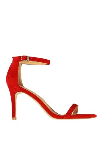 Twenty Eight Shoes 紅色 麂絨一字帶高跟涼鞋 VS126A9 CA94FSH0A3D127GS_1