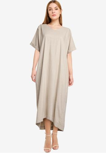 LOWRYS FARM brown Oversized Back Tie Midi Dress 74054AA830123AGS_1