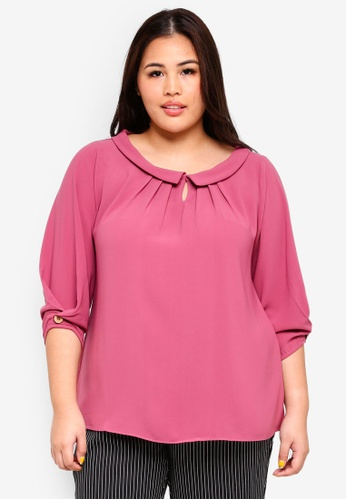 Ex'otico pink Plus Size 3/4 Sleeve Pleated Blouse 07087AAA4A7B87GS_1