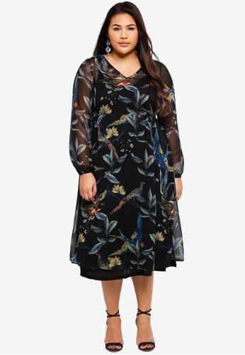 Junarose black and multi Plus Size Revea Long Sleeve Midi Dress 23F0AAAA051946GS_1