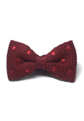 Splice Cufflinks red Webbed Series Red Polka Dots Maroon Red Knitted Bow Tie SP744AC95UBCSG_1