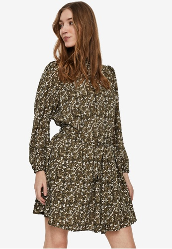 Vero Moda green Josephine Long Sleeve Short Dress 1E87DAA0F4FC52GS_1