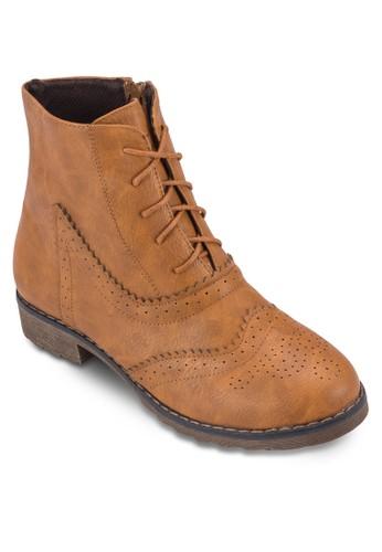 沖esprit香港分店地址孔雕花繫帶短靴, 女鞋, 鞋