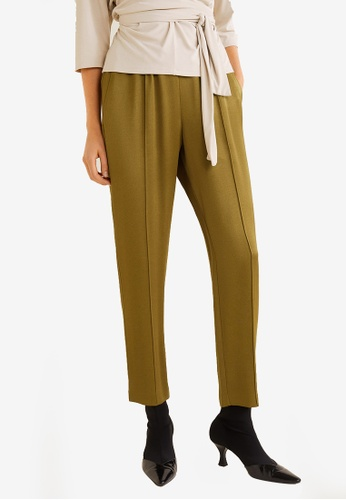 Mango green Satin Trousers 1540BAAF340571GS_1