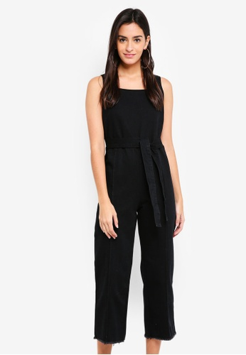 ZALORA black Denim Square Neck Jumpsuit 63DD7AA0505363GS_1