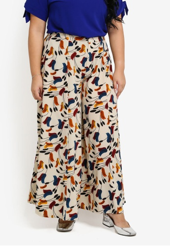 Ex'otico beige Plus Size Flowing Palazzo Printed Trousers EX373AA0SL8XMY_1