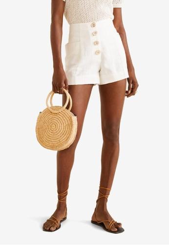 Mango 白色 Pocket Linen Shorts D45AEAAEDC0935GS_1