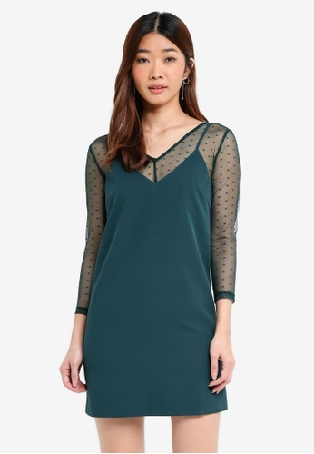 Something Borrowed green Sheer Dotted Layered Dress A9996AACD0CC2DGS_1