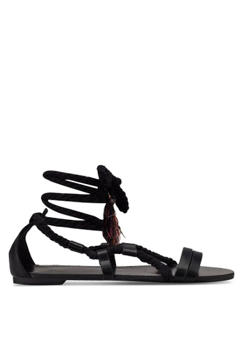 ZALORA black Rope Lace Up Sandals 7AB97SH85AE5BAGS_1