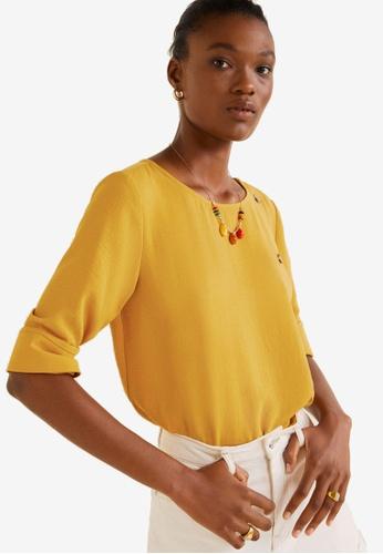 Mango 黃色 圓點上衣 93314AA5378C5DGS_1