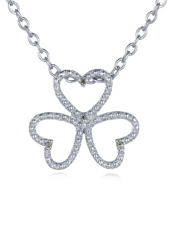 MBLife silver 925 Sterling Silver Green CZ 3-leaf Clover Necklace CCE28AC14A4703GS_1