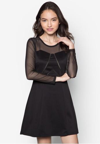 網紗拼袖洋裝, zalora taiwan 時尚購物網鞋子服飾, 派對洋裝