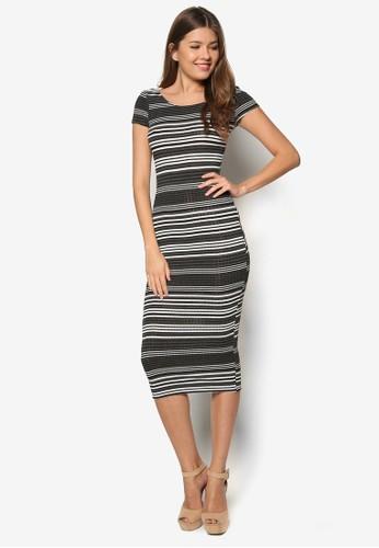 條紋貼身連身裙, 服飾zalora 包包評價, 緊身洋裝