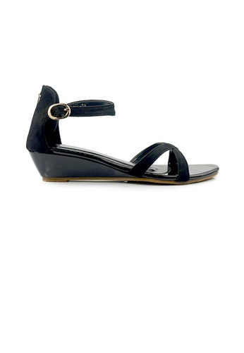 SHINE black SHINE Ankle Strap Back Zip Wedge Sandales F67F5SHDF2B342GS_1